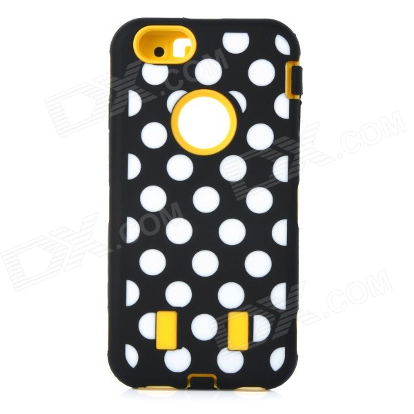 3-in-1 Polka Dot Pattern Silicone + PC Back Case for IPHONE 6 - Yellow + Black + Multi-Color