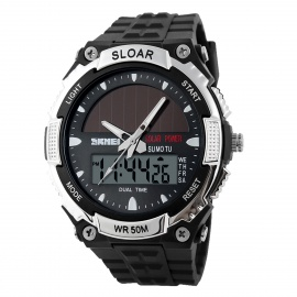SKMEI 1049 Men's Waterproof Solar Sports Watch - Black + Silver