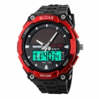 SKMEI 1049 50m Waterproof Solar Movimentos duplas masculinas dobro do tempo mostra Sports Watch - preto + vermelho