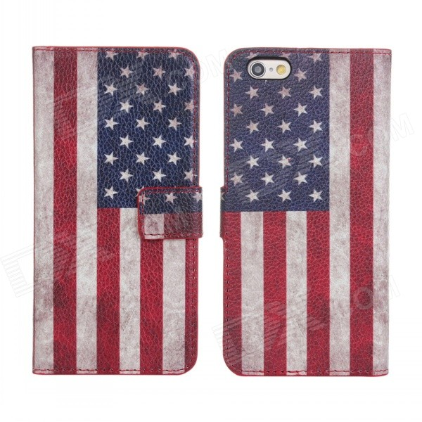 купить Stylish U.S. Flag Pattern Flip-open PU Leather Case w/ Holder + Card Slot for IPHONE 6 4.7