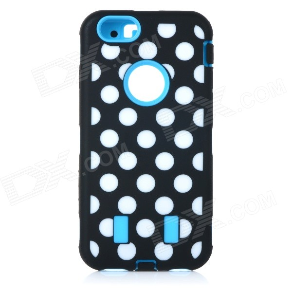 3-in-1 Polka Dot Pattern Silicone + PC Back Case for IPHONE 6 - Blue + Black + Multi-Color dulisimai polka dot pattern protective pu pc case w stand for iphone 6 4 7 black blue