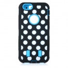 3-in-1 Polka Dot Pattern Silicone + PC Back Case for IPHONE 6 - Blue + Black + Multi-Color
