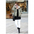 KN-33 Women's Winter Wear Stylish Thickened Warm Hooded Down Jacket Coat - Army Green (XL)