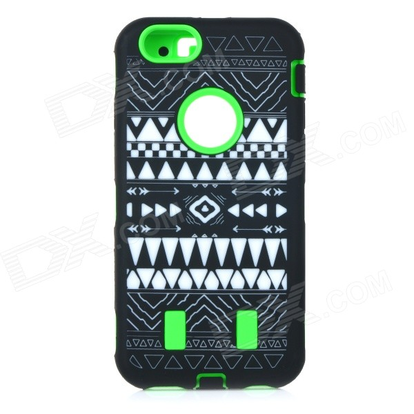 Stylish Pattern Assembled Protective Silicone + PC Back Case for IPHONE 6 - Green + Black + White mallper mp i8160 3 7v 1275mah replacement li ion battery for samsung i8160 i8190 s3 mini