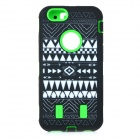 Stylish Pattern Assembled Protective Silicone + PC Back Case for IPHONE 6 - Green + Black + White