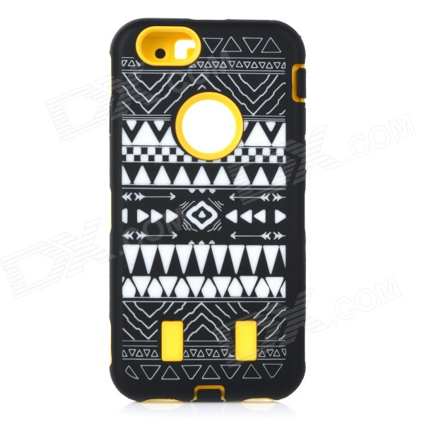 Stylish Pattern Assembled Protective Silicone + PC Back Case for IPHONE 6 - Yellow + Black + White stylish protective silicone back case for iphone 5 black