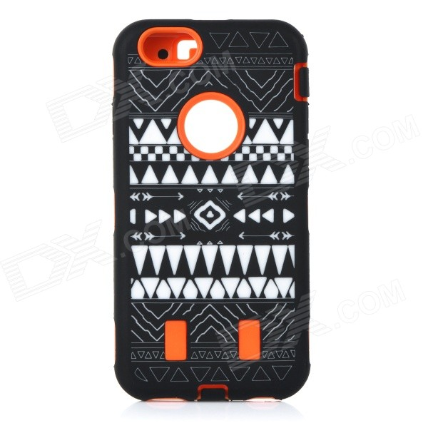 Stylish Pattern Assembled Protective Silicone + PC Back Case for IPHONE 6 - Orange + Black + White stand leather case for iphone 6 plus 6s plus 5 5 inch with card slot dark blue