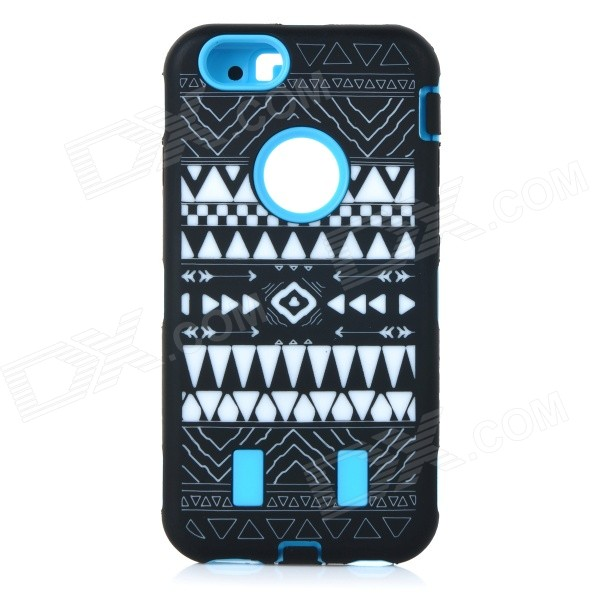 Stylish Pattern Assembled Protective Silicone + PC Back Case for IPHONE 6 - Blue + Black + White stylish protective silicone back case for iphone 5 black