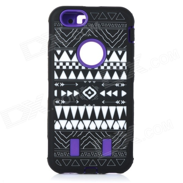 Stylish Pattern Assembled Protective Silicone + PC Back Case for IPHONE 6 - Purple + Black + White stylish protective silicone back case for iphone 5 black