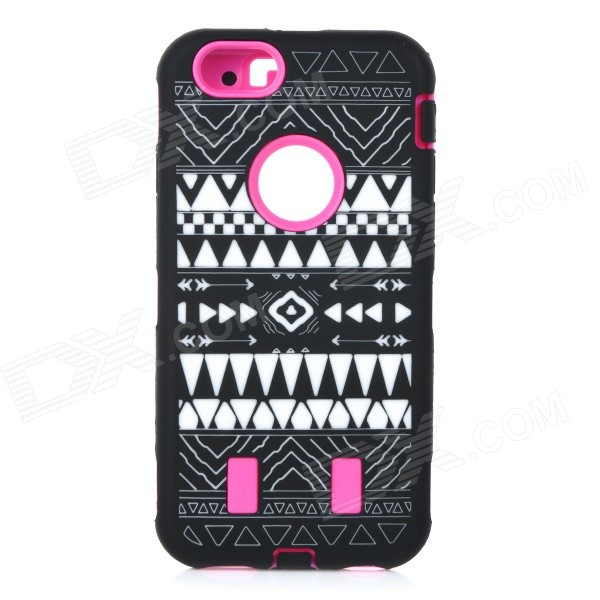 Stylish Pattern Assembled Protective Silicone + PC Back Case for IPHONE 6 - Deep Pink + Black stylish protective silicone back case for iphone 5 black