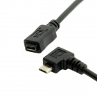 CY U2-096-RI Micro USB 90 Degree Right Angled Male to Female Extension Cable - Black (50cm)