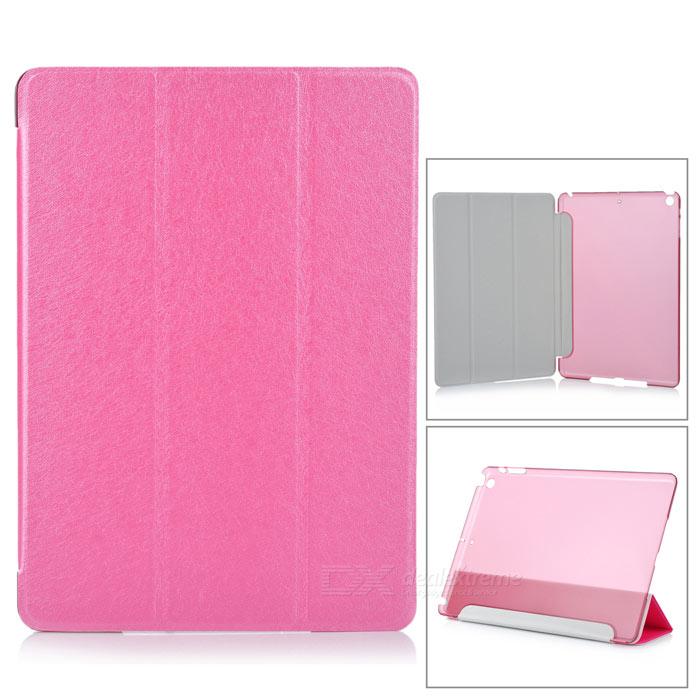 Stylish 3-Fold Cover PU Smart Case w/ Translucent Back / Stand for IPAD AIR - Pink soft silicone tpu translucent back cover for ipad air 2 air2 trifold stand smart auto on off premium pu leather slim fit case