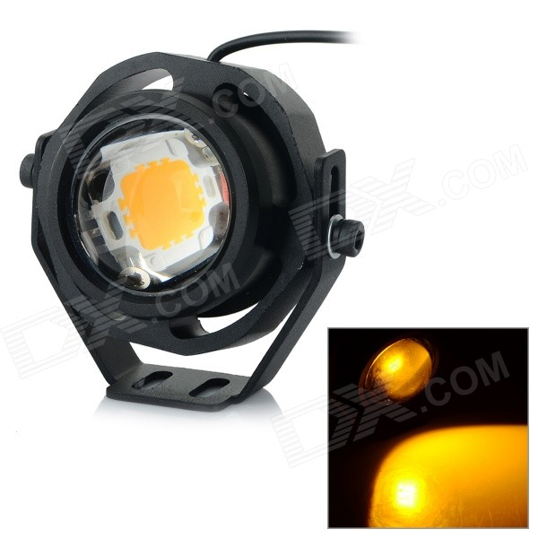 JRLED JRLED-10W-12V Waterproof 10W 400lm 580nm LED Yellow Light Mini Spotlight - Black (AC / DC 12V)