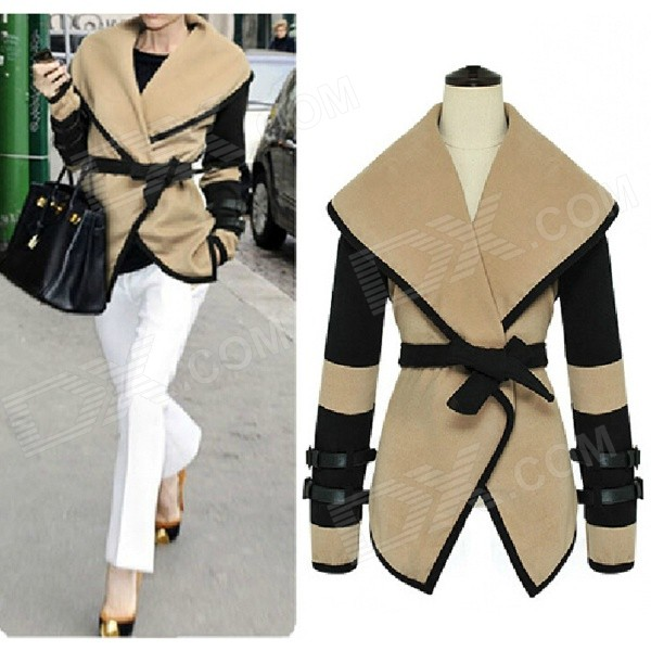 Women's Fashion Cotton Blended Coat - Khaki + Black (L)