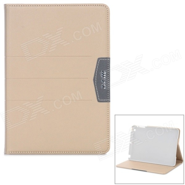 Protective PU Flip-Open Case w/ Stand for IPAD MINI 2 / 3 - Light Gold oxford pattern protective pu leather flip open case w stand for ipad 2 3 4 grey