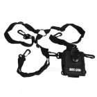 Universal Nylon Protective Pouch Bag w/ Adjustable Shoulder Band for Walkie Talkie - Black