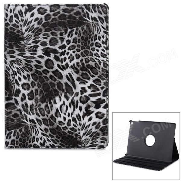 Stylish Leopard Skin Pattern PU Leather Case w/ Stand for IPAD AIR 2 - White + Black stylish eiffel tower pattern pu leather flip open case w stand for ipad air grey white
