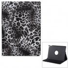 Stylish Leopard Skin Pattern PU Leather Case w/ Stand for IPAD AIR 2 - White + Black
