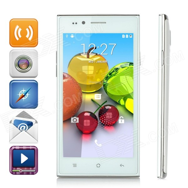 "MG7 4.5"" Android 4.4.3 Single-Core WCDMA + GSM 3G Phone w/ Dual-SIM, Dual Standby - White + Silver"