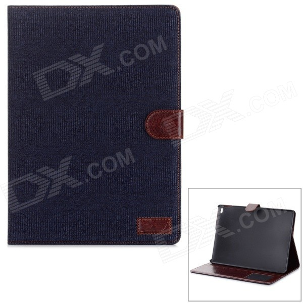 Denim Pattern PU Leather Smart Case w/ Stand / Card Slots for IPAD AIR 2 - Black stripe pattern protective flip open pu case w card slot stand for ipad air 2 white multicolor