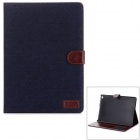 Denim Pattern PU Leather Smart Case w/ Stand / Card Slots for IPAD AIR 2 - Black
