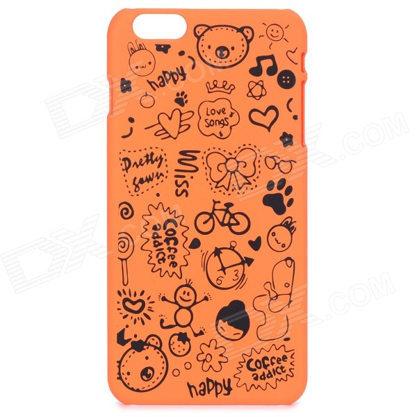 Cute Cartoon Pattern PC Back Cover Case for IPHONE 6 PLUS 5.5 - Orange + Black iface mall for iphone 6 plus 6s plus glossy pc non slip tpu shell case black