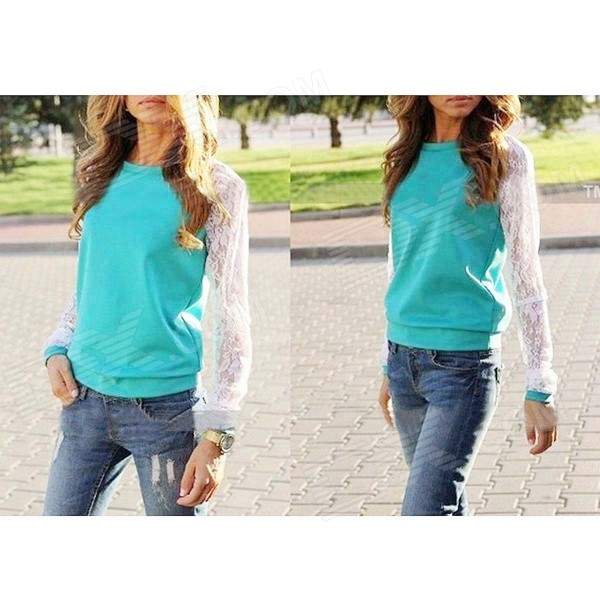 Women's Autumn Wear Casual Round Neck Lace Sleeves Patchwork Blouse Sweatshirt - Green (Size L)