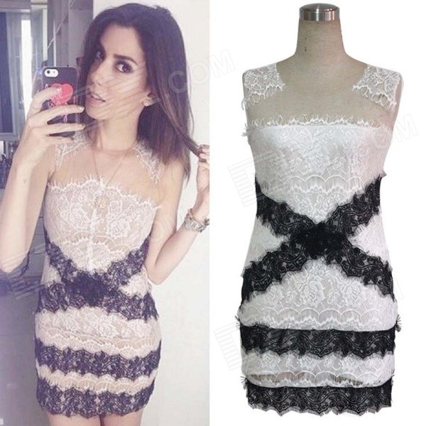 цены на Women's Fashion Sexy Lace Sleeveless Slim Dress - White + Black (Size L) в интернет-магазинах