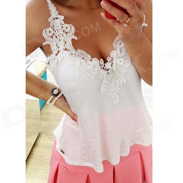 Women's Loose Sleeveless Deep V-Neck Lace + Chiffon Blouse Shirt - White (Size L)
