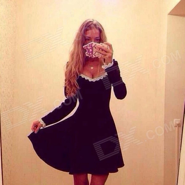 Fashion Women's Autumn / Winter V-neck Long-sleeved Cotton Waist Dress - Black (Size L)