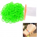 DIY Educational Weaving Silicone 200-Bands + S-Buckle Bracelet Set for Kids - Green
