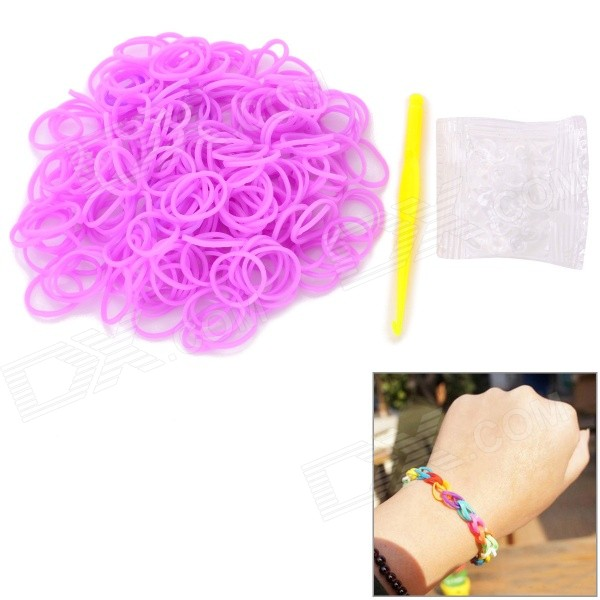 DIY Educational Weaving Silicone 200-Bands + S-Buckle Bracelet Set for Kids - Purple