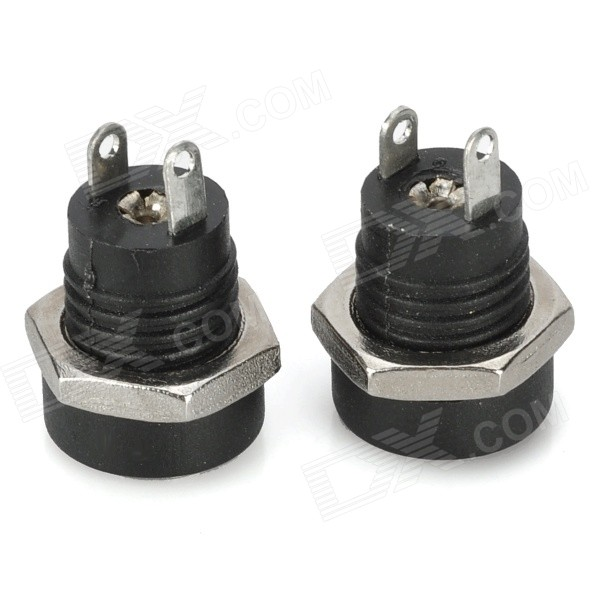 DIY 5.5 x 2.1mm Threaded DC Power Sockets Set - Black (2 PCS)