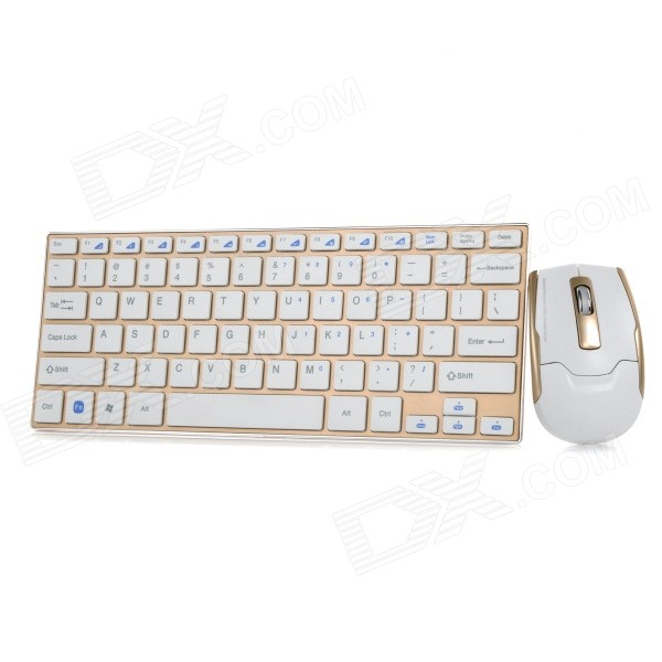 HK-3910 2.4GHz Wireless USB 2.0 Keyboard + Mouse Set - White + Gold (4 x AAA)