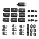 DIY Micro USB Male Plug Connectors Kit w/ Covers - Black (10 PCS)