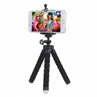 C007 Portable Tripod + Phone Holder + Adapter Set for Cellphone / GPS / GoPro 4 / 3 - Black