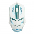 RAJFOO Terminator USB 2.0 Wired 1600DPI Game Mouse - White + Blue