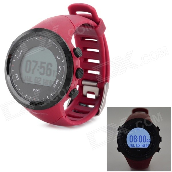Multi-Function Outdoor Digital Sport Watch w/ Pedometer / GPS / Compass / Backlight - Red u80 smart watch with pedometer function