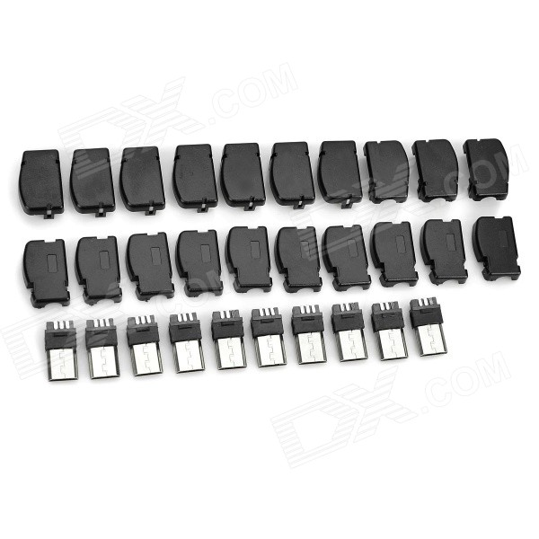 DIY 90 Degree Angle Micro USB Male Plug Adapters - Black (10 PCS)