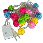 3W 20-LED RGB Rattan Ball Lampshade String Light for Christmas (4M)