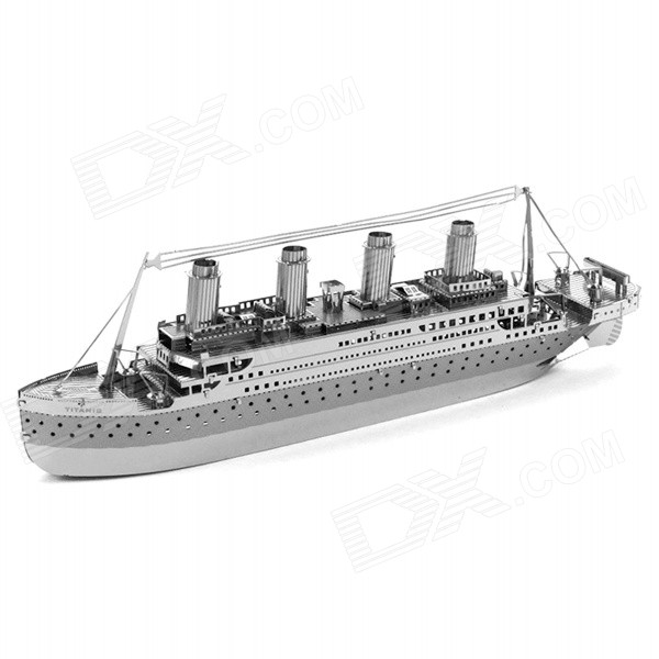 DIY Assembled Educational 3D Titanic Model Puzzle Toy - Silver