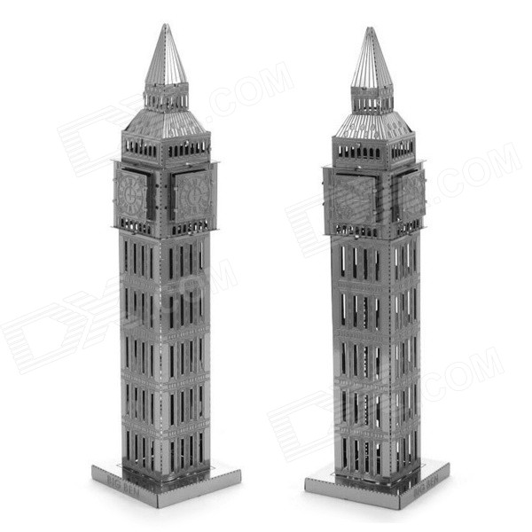 DIY Educational 3D Big Ben Model Puzzle - Silver