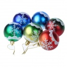 60mm Christmas Tree Decorative Balls w/ Glitter Pattern (6PCS)