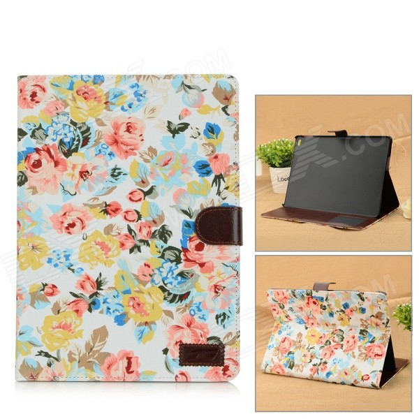 Flowers Pattern Protective Flip Open PU Leather Case w/ Stand / Card Slots for IPAD AIR 2 protective flip open pu case cover w stand card slots for ipad air 2 blue beige multicolor