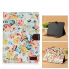 Flowers Pattern Protective Flip Open PU Leather Case w/ Stand / Card Slots for IPAD AIR 2