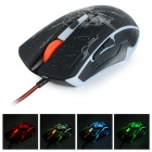 RAJFOO USB 2.0 Wired 800/1200/1600 / 2400DPI Gaming LED Maus - Schwarz (140cm-Kabel)