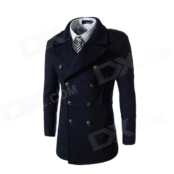 Men's Korean Style Fashionable Slim Double-breasted Woolen Coat - Navy Blue (L) ws755 autumn and winter wear threaded collar double breasted slim coat navy blue l