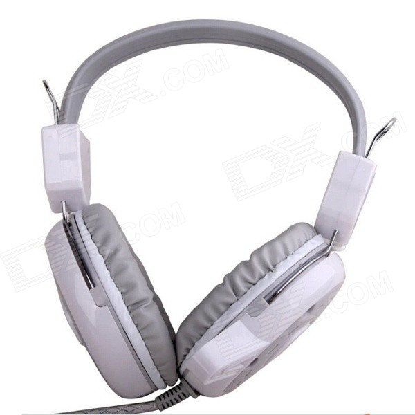 BLUELOVER D300 3.5mm Plug PC Gaming Headband Headphone w/ Microphone / Remote - White + Grey bluelover a89l hd drive free 9 0 mp camera w microphone white