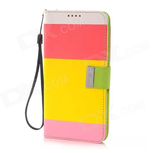 Fashion Colorful Flip Open PU Leather + TPU Case w/ Card Slots / Strap for Samsung Galaxy Note 4 protective flip open pu case w stand card slots strap for samsung galaxy note 3 n9000 white