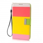 Fashion Colorful Flip Open PU Leather + TPU Case w/ Card Slots / Strap for Samsung Galaxy Note 4